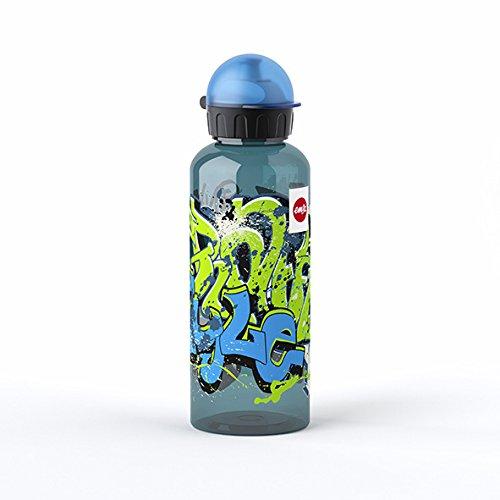 Emsa Kinder-Trinkflasche, 600 ml, Sicherheitsverschluss, Teens Graffiti, Tritan, 518129