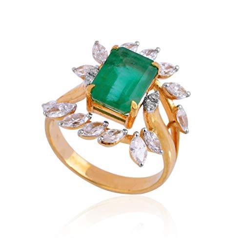 Spectrum Jewels Real - Anillo de cóctel con piedras preciosas de esmeralda de 3,55 quilates, oro amarillo de 18 quilates, joyería para niñas y mujeres