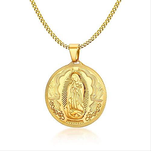 nobranded Hombres Virgen María María Medalla Milagrosa Collares Pendientes Oro-Color Acero Inoxidable Religión Joyas