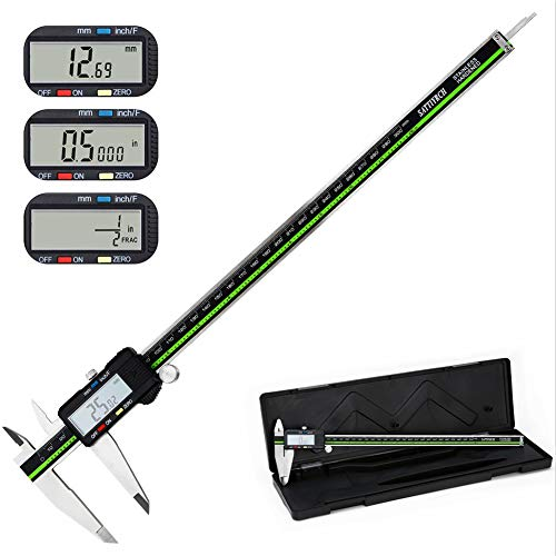 Sattiyrch Digital Caliper Stainless Steel with Large LCD Screen 12 Inch Millimeter Fractions Conversion Electronic Vernier Caliper Measuring Tool (12 inch)