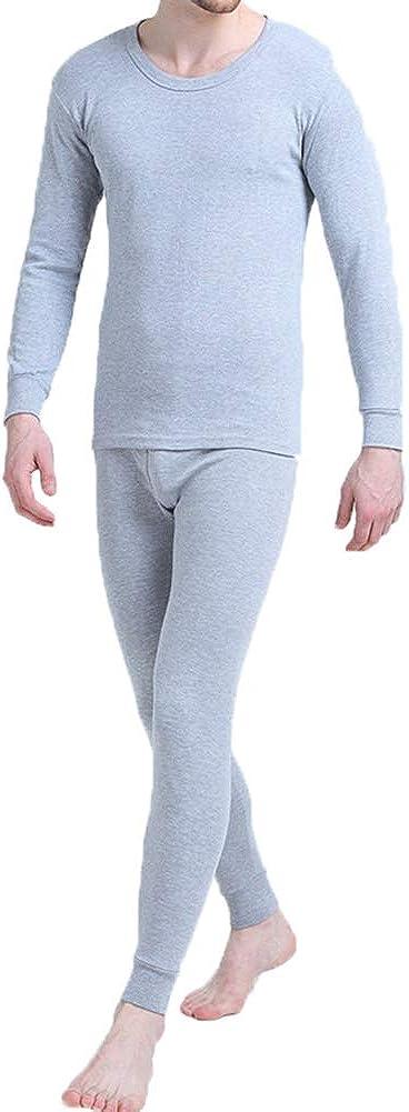 Men's Cotton Light Weight Thermals Underwear Set Top & Bottom Long Johns 01Light Grey M