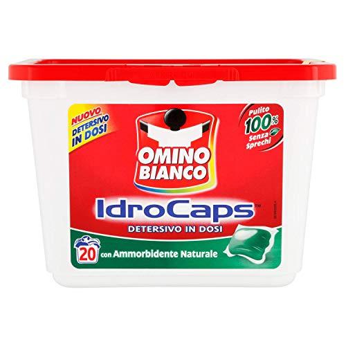 Omino Bianco - IdroCaps, Detersivo in Dosi con Ammorbidente, Pulito 100% Senza Sprechi - 20 pezzi