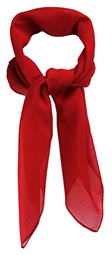 TigerTie Feines Damen Chiffon Nickituch in rot einfarbig Uni - Größe 58 cm x 58 cm - Tuch Halstuch Schal
