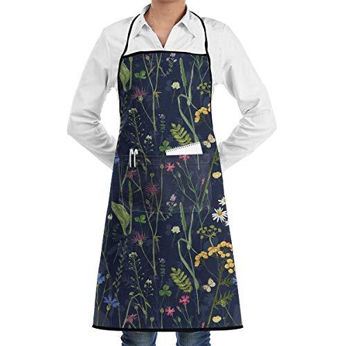 alice-shop Delantal Babero Botanical Beauty Floral Garden Delantal Impermeable con Bolsillo para Chef, Cocina, hogar, Restaurante, cafetería, Cocina, Hornear