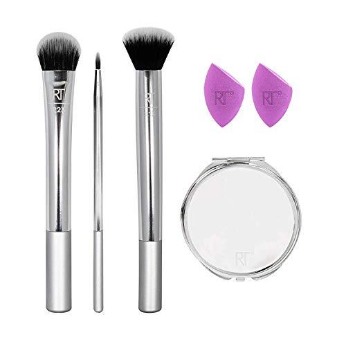 Real Techniques Conjunto de pincéis de maquiagem Poppin' Perfection com esponjas de maquiagem e espelho compacto para maquiagem, conjunto de 6