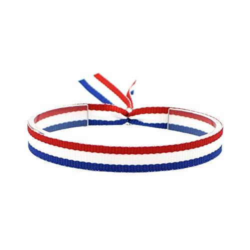 BDM Pulsera de Hombre y Mujer de Tela con la Bandera de Francia, Rojo Blanco y Azul, Ideal para el fútbol.
