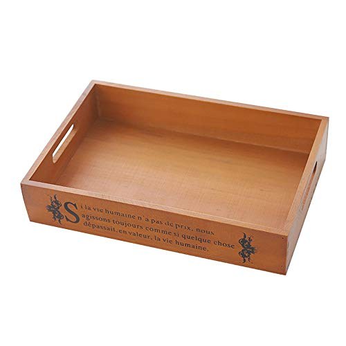 Woods Ottomaanse houten dienblad met Handles Koffie Thee Tray Cocktails Tray Snacks Tray (Color : Wood, Size : 34x23.5x6.3cm)