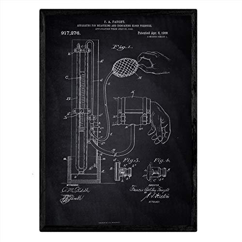 Poster Nacnic Patent bloeddrukmeter. Blad met oud ontwerp patent A3-formaat met zwarte achtergrond