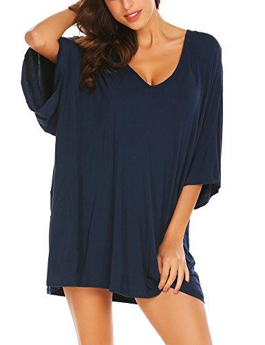 Ekouaer Deep V Neck Sleepshirt Sexy Cotton Nightshirt For Women Plus Size,Navy,Small