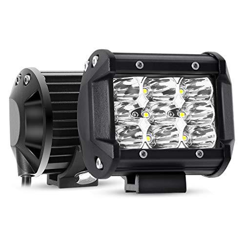 YEEGO Focos de Coche, 2 Piezas 9 LED 4' 27W Faro de Trabajo LED Off Road, LED Luz de Trabajo Bar Focos Led para Todoterreno, Barco, 4x4, Tractores, camión, 2 años de garantía