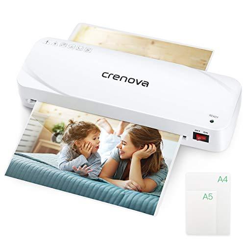 Laminiergerät, Crenova A4-Laminiergerät, 9 Zoll Thermolaminiergerät, 20 Laminierhüllen für Zuhause / Schule / Büro (Weiß)