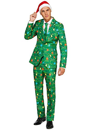 Suitmeister Christmas Suits for Men - Green Trees - Ugly Xmas Sweater Costumes Include Jacket Pants & Tie + Free Hat - L