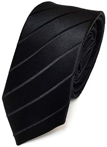 Schmale TigerTie Seidenkrawatte schwarz gestreift - Tie Krawatte 100% pure Seide / Silk
