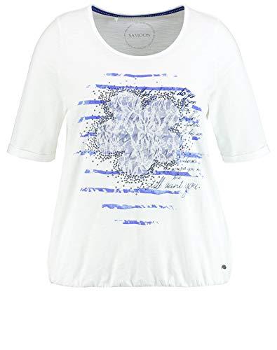 Samoon T-Shirt 1/2 Arm Camiseta, Offwhite Gemustert, 52 para Mujer