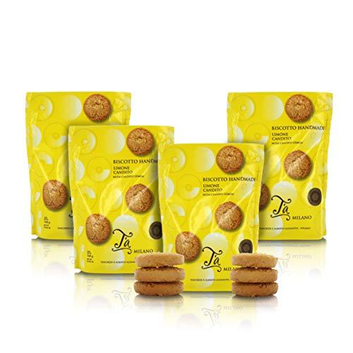 Sacchetto di fragranti Biscotti al Burro Fatti a Mano al Limone candito - 160g (Confezione da 4 Pezzi)
