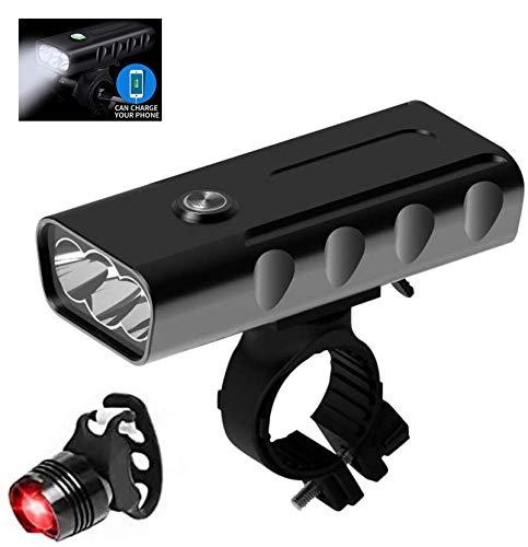 KER Fahrradlicht LED Set, USB Fahrradlichter, Fahrradbeleuchtung, Wasserdicht Fahrradlampe Rücklicht Set Wiederaufladbare 5200mAh,1500 Lumen Licht für Fahrrad Set