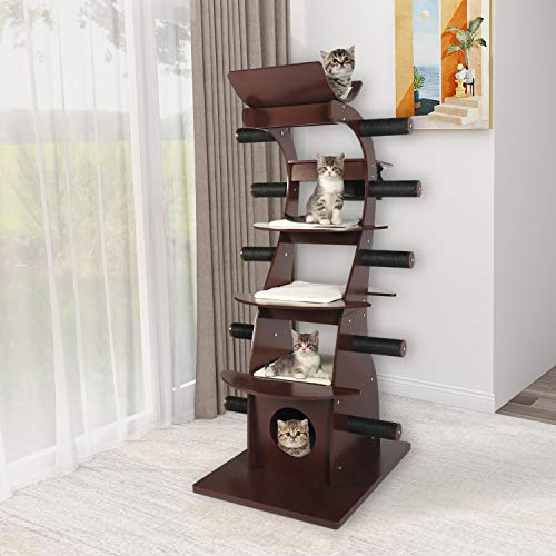 "Yokstore Multi-Level Cat Tree Tower - 62""Modern Wooden Cat Condo with Sisal Scratching Posts..."