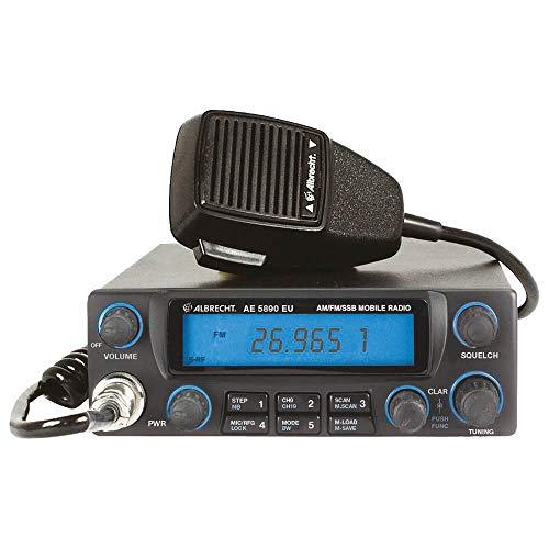 Albrecht AE5890EU CB Funkgerät, 12589, mit 6-poligem Mikrofon, 4 Watt AM/FM, 12 Watt SSB