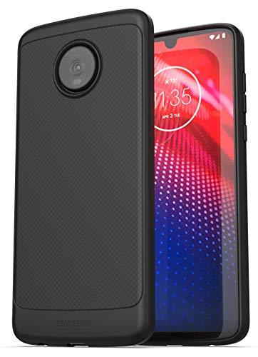 Encased Moto Z4 Schutzhülle (dünne Armor), schmale Passform, flexible Handgriffigkeit, für Motorola Z4 Handy, Schwarz