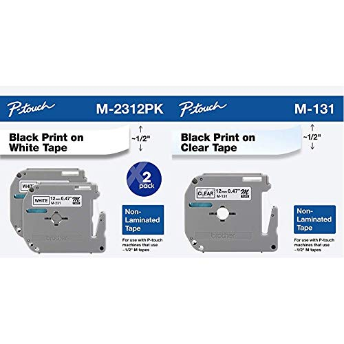 """Brother Genuine P-Touch M-2312PK Tape, 2 Pack, 1/2"""" (0.47""""), 0.47"""" x 26.2' (12mm x 8M), 2-Pack & Genuine P-Touch M-131 Tape, 1/2"""" (0.47"""") Standard P-Touch Tape, 26.2 Feet (8M), Single-Pack"""