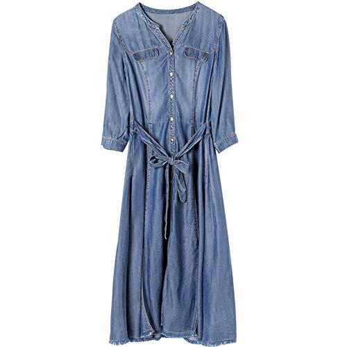 BINGQZ Cocktailjurken Denim jurk lente en herfst vrouwen mode lange rok lange mouwen zijden sjaal