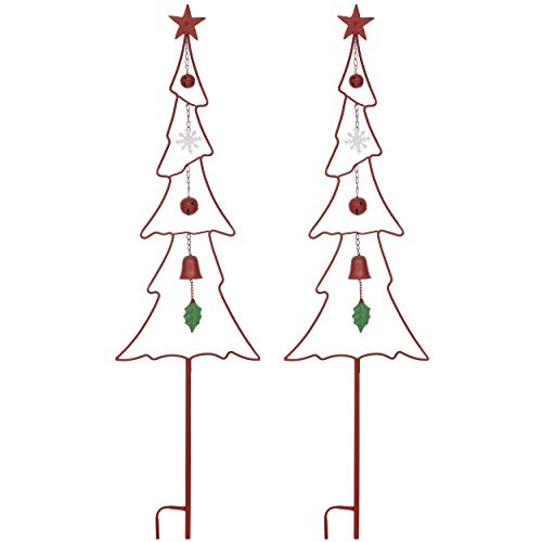 """Christmas Yard Garden Stakes Decor- Set Of 2 53"""" Metal Outdoor Red And Green Christmas Tree Jingle Bell Signs Stake Decorations For Home Lawn Pathway Walkway Driveway Weather Resistant Xmas Decoration"""