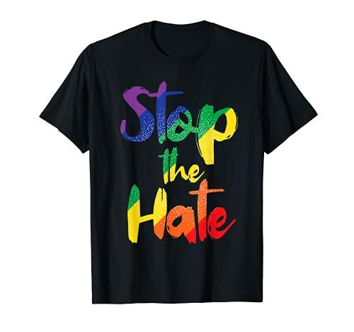 Regenbogen Liebe - Stoppt den Hass - LGBT Gay Pride T-Shirt