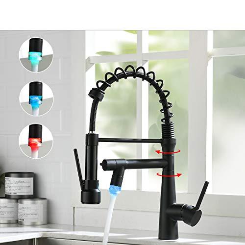 TIMACO LED Wasserhahn Küche Schwarz - 360° schwenkbar mit Spiralfeder Brause ausziehbar Gastro Hochdruck Küchenarmatur Spültischarmatur