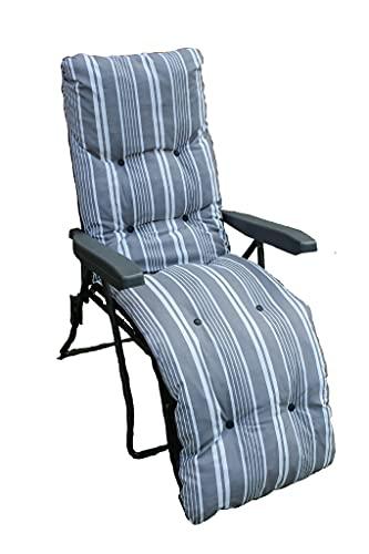UK-Gardens GREY Stripe Garden Sun Lounger Relaxer Recliner Folding Chair With Padded Cushion