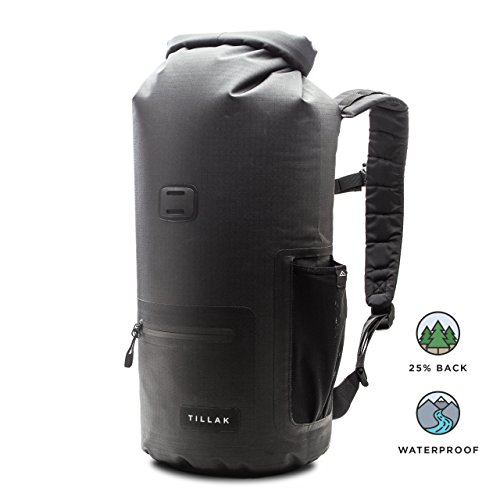 Tillak Kiwanda 10L Dry Bag, Premium Waterproof Backpack With Zip and Bottle Pocket, Adjustable Straps - Roll Top Compression Dry Sack Perfect For Kayaking, Hiking, Fishing, Camping and at the Beach