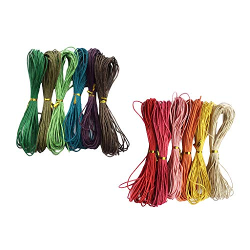 #N/a 12 Rollos de Hilo de Hilo de Algodón Encerado para Hacer Joyas, 1,5 Mm de Ancho, 12 Colores