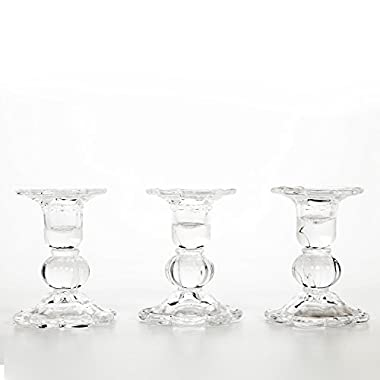 Hosley's Set of 3 Glass Taper Candle holders - 3.9  High. Classic Decor for Wedding, Party, Gifts. Bulk Buy, Spa, Aromatherapy O3