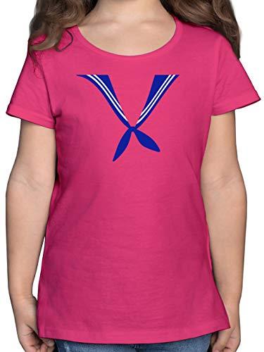 Karneval & Fasching Kinder - Matrose Kostüm Tuch - 164 (14/15 Jahre) - Fuchsia - Rundhals - F131K - Mädchen Kinder T-Shirt