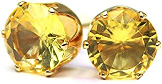 Aashya Mayro Crystal Simulated CZ Yellow Stone Studded Gold or Silver Plated Stud Earrings For Women And Girls