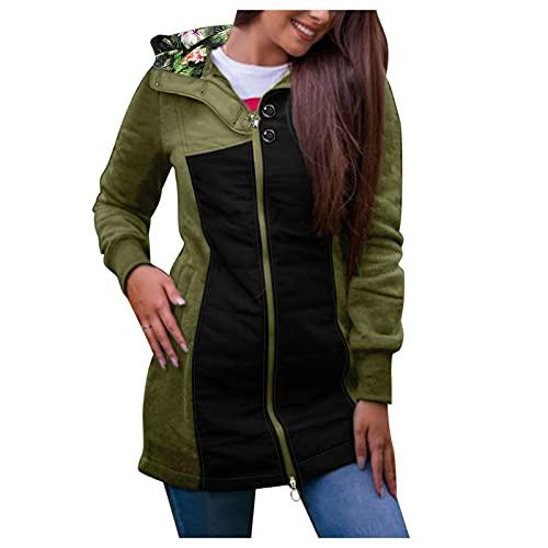 Philippians Veste d'extérieur pour femme avec cordon de serrage et poches à col roulé Vintage Veste à capuche avec fermeture éclair et capuche Style années 90, B vert., XXL