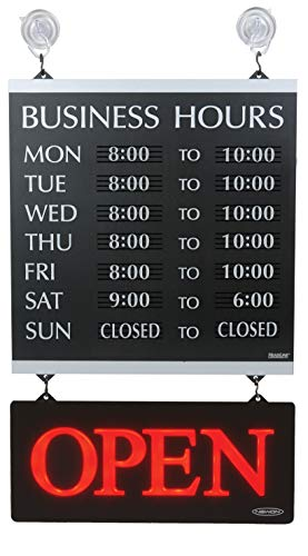 """Headline Sign - Century Series, Business Hours Sign with 176 1/4""""-Characters, Suction Cups for Hanging, 14x13 Inch, Black and Silver (4247)"""