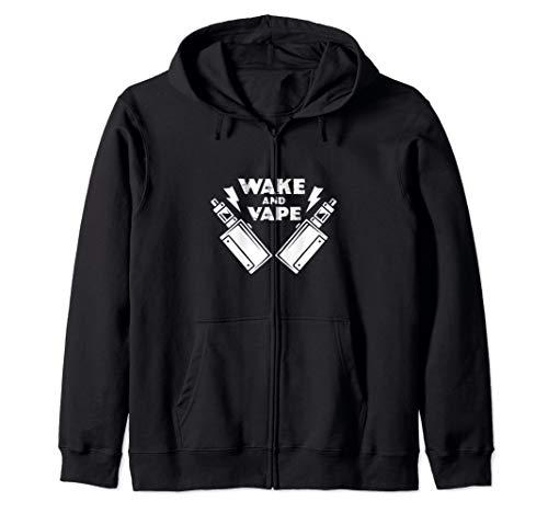 Wake And Vape Funny Vaporizer Vaping Lover Gift Zip Hoodie