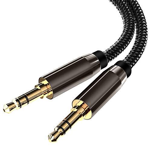 Prise Jack,ARCHEER Cable Jack 3.5 Mâle Mâle 1.5m Prise Jack Aux Audio Cable Auxiliaire Jack 3.5 Mini Double Jack en Nylon pour iPhone/Samsung/iPod/iPad/Voiture/Casque/Autoradio/Smartphones/MP3
