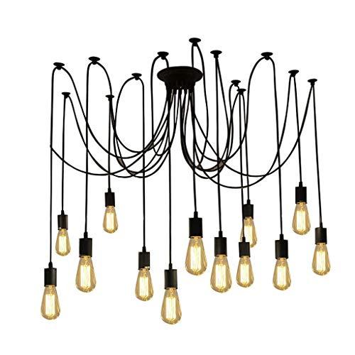 DD Creative - Lámpara de techo ajustable con diseño de araña, 14 Head 7 lámparas, fuente luminosa E27 LD0104