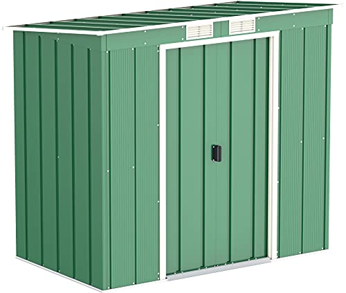 Duramax ECO Pent Roof 6 x 4 Hot-Dipped Galvanized Metal Garden Shed - Tool Storage Shed - Green with Off-White Trimmings - 15 Years Warranty