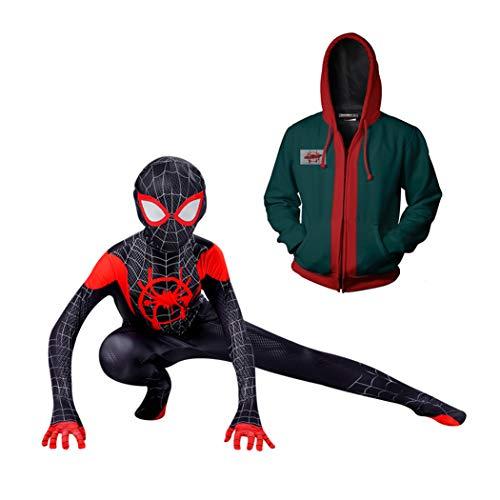 GUOHANG Miles Morales Spider Man mit Kapuze Sweatshirt Kostüm Für Kinder oder Erwachsene Spiderman Kostümanzug, Spiderman Kostüm Anzug Halloween Carnival Cosplay,Schwarz,105cm ~ 115cm