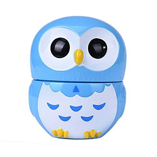 VEADK Küchentimer Home Owl Kitchen Decor Owl Timer 60 Minuten rosa Küchenhelfer Eieruhr Kochen Mechanische Countdown-Timer, Blau