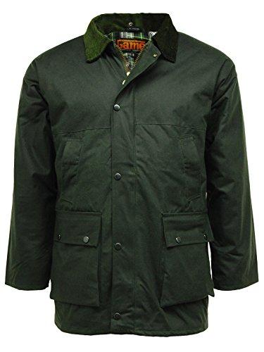 Regen-Jacke, gesteppt, gepolstert, Baumwollwachs Gr. M, olivgrün