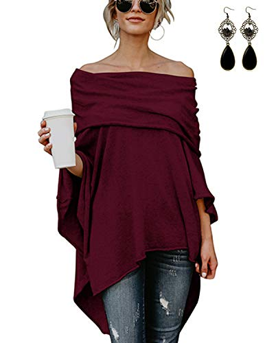 XXIE Damen Poncho Lange Off Shoulder mit Ärmel Tunika Pullover Sweatshirt Cape Rot XL