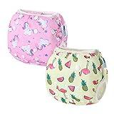 2 PCS InnoBeta Pañal de Natación, Bañador Pañal reutilizables para Bebé, bañador tela pañal lavable para niños niñas 0-1 años(Size S), Unicornio + Flamenco