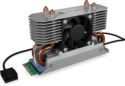 ICY BOX M.2 Kühler mit Lüfter und Heatpipe Kühlkörper für M.2 NVMe & SATA SSD bis 2280, 30 mm Lüfter aktiv, Wärmeleitpad inklusive