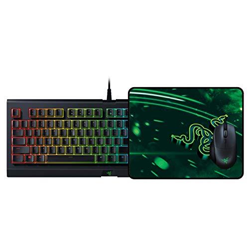 Razer holiday bundle 2019 - cynosa chroma gaming keyboard + basilisk essential gaming mouse + goliathus speed (medium) mouse pad (renewed)