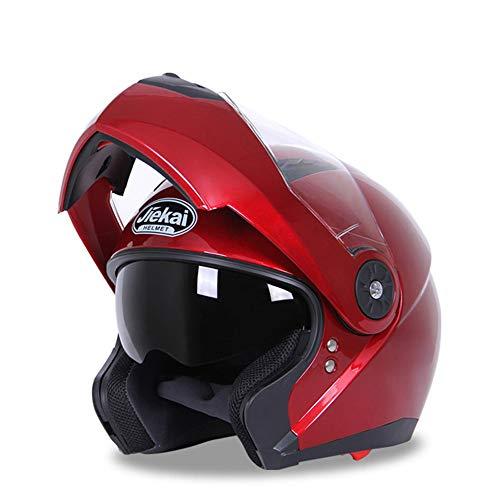 Smile Casco per Moto Locomotiva Doppio ombrellone Modulo di Vibrazione Casco Integrale Casco Fuoristrada per Quattro Stagioni Mountain Bike Casco per Adulti per Giovani,Rosso,L