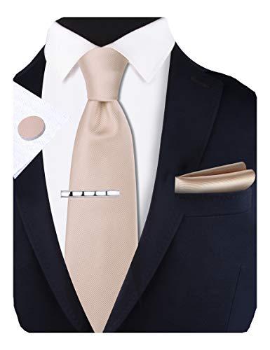 GUSLESON Set bestehend aus Krawatte und Einstecktuch und Manschettenknöpfen, 8 cm - Beige - Allgemeines