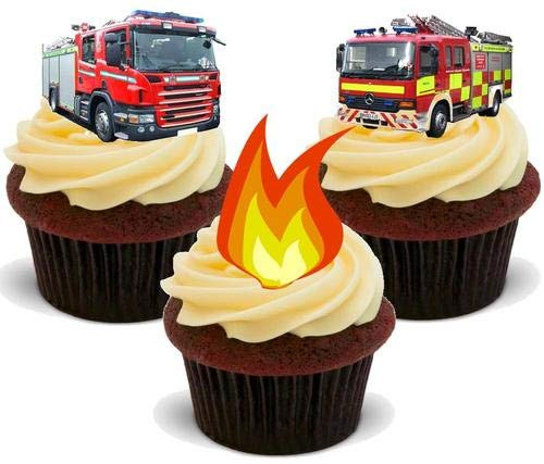 Feuerwehrauto Feuer Mix - 12 essbare hochwertige stehende Waffeln Karte Kuchen Toppers Dekorationen, Fire Engine Fire Mix - 12 Edible Stand Up Premium Wafer Card Cake Toppers Decorations
